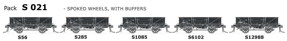 S Wagon SDS Models: -Pk S 021 NSWGR S-Truck: 5 in Pack with Spoked Wheels,with Buffers