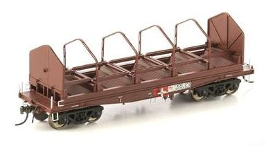Auscision Models: FISHBELLY UNDERFRAME WAGON, NCNX COIL STEEL WAGON, SRA RED WITH TARP HOOPS - 4 PACK NSW-25