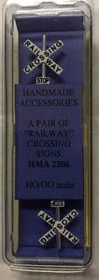 HMA 2306 A PAIR OF RAILWAY CROSSING SIGNS HO HAND MADE ACCESSORIES.