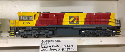 QR 2355 HO (16.5 mm) 2300 CLASS Q232 QRN BRONCOS LIVERY - AURIZON LOGO - SERIES 2 DOO-VERTICLE GRILL.  With DCC & SOUND