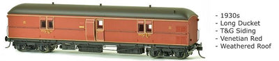 EHO SDS Models: EHO 1988 Express Brake Van, 1930s, Venetian Red, Weathered Roof DISCOUNT PRICE $90