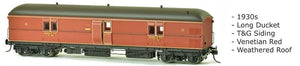 EHO SDS Models: 1930's EHO1993 Venetian Red, Express Brake Van, 1930s, Weathered Roof. #004