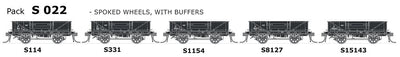 S Wagon SDS Models: -PK S 022 NSWGR S-Truck 5 in Pack with Spoked Wheels,with Buffers