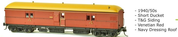 EHO SDS Models: 1940/50's EHO 1987 Venetian Red T & G Siding Navy Dressing Roof. Express Brake Van: #005