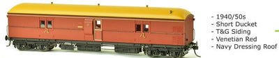EHO SDS Models: EHO 1987 Venetian Red T & G Siding Navy Dressing Roof. Express Brake Van: EHO1987