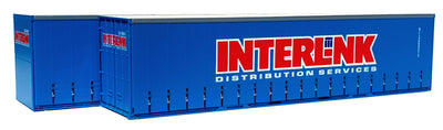 01. 40' Curtain Sided Containers #40CS-01 On Track Models: INTERLINK DISTRIBUTION SERVICES Seapak Blue (2 PACK)