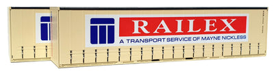 06. 40' Curtain Sided Containers #40CS-06 On Track Models: RAILEX Cream (2 PACK)