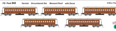 FO 042 AUSTRAINS NEO : End Platform Car  - Unnumbered with Decal Varnish Mansard Roof 5 Cars (NEW)