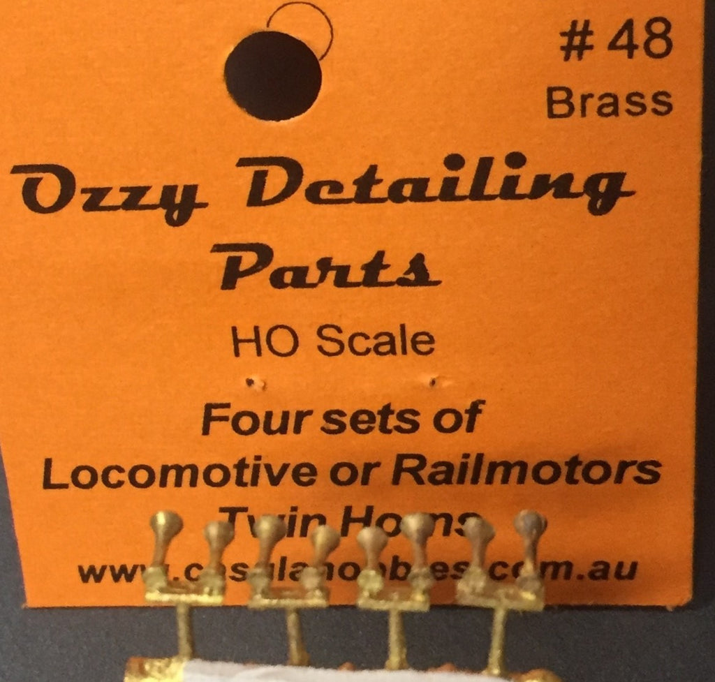 Air Horns Ozzy Brass #48 Twin Horns for Locomotive and Rail-motors (4)