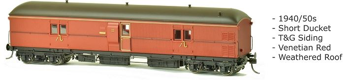 EHO SDS Models: EHO 635 Express Brake Van 1940/50s, Venetian Red, Weathered Roof **