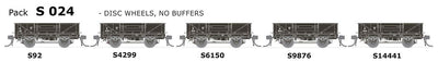 AUSTRAINS NEO - S Wagon: -Pk S 024 NSWGR S-Truck: 5 in Pack with Disc Wheels, No Buffers