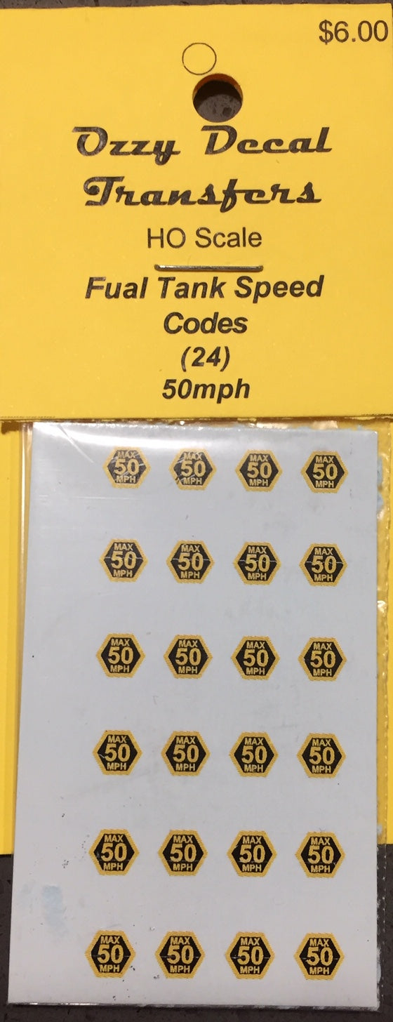 Ozzy Decals: FUEL TANK SPEED CODES SIGN 50 MPH, (24 ON THE SHEET) .