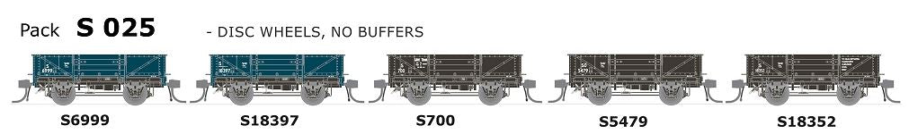 S Wagon SDS Models: -Pk S 025 NSWGR S-Truck: 5 in Pack with Disc Wheels, No Buffers