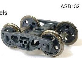 132: SDS Models: Bogies: AQA Bogie with 4-Hole Disc Wheels HO-Scale ASB132