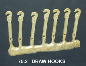 HOOKS, Steam Loco Draw Hooks with hole & pins #75.2. Ozzy Brass :
