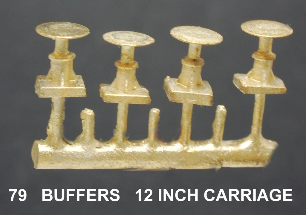 "Buffers 12 Inch plate 72'6"" Carriage cars  Ozzy Brass #79"
