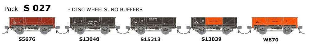 SDS Models: Austrains Neo: Ulimate NSWGR S-Truck: 5 Pack : S 027 Disc Wheels, No Buffers