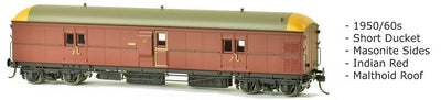 EHO SDS Models: EHO 625 Express Brake Van 1950/60s, Indian Red, Malthoid Roof.DISCOUNT PRICE, $90