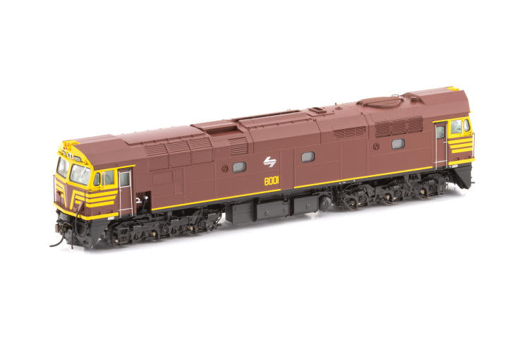 80-3 - AUSCISION 80 CLASS 8011 INDIAN RED with WHITE L7 Locomotive non sound.  DC