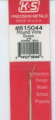 K & S Round Brass Wire  #815044 .010  (.254mm) 3pcs