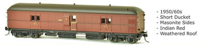 EHO SDS Models: EHO 627 Express Brake Van, 1950/60s, Indian Red, Weathered Roof, DISCOUNT PRICE, $90