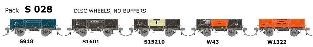 SDS Models: Austrains Neo: Ulimate NSWGR S-Truck: 5 Pack : S 028 Disc Wheels, No Buffers