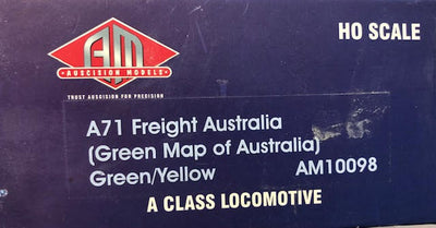 A71 Class 2nd Hand AUSCISION MODELS A71-VR FREIGHT AUSTRALIAN MODEL (Green map of Australia) Green-yellow TEST RUN GOOD IN CONDITION