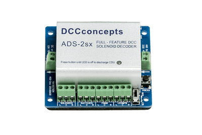DCCconsepts DCD ADS-2sx = 2 OUTPUTS WITH INDIVIDUAL CDU Solenold Accessory Decoders CDU ABLE TO CHANGE TWO TWIN-COIL SOLENOIDS *