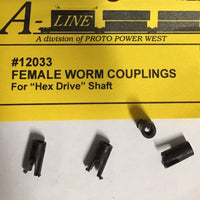 A-Line HO: FEMALE WORM COUPLINGS (4) #12033 for Hex Drive Shafts.**