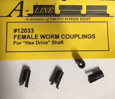 A-Line HO: FEMALE WORM COUPLINGS (4) #12033 for Hex Drive Shafts.