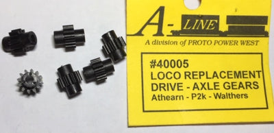 A-Line HO: LOCO REPLACEMENT DRIVE - AXLE GEARS (6) #40005 for Atharn - P2K - Walthers.