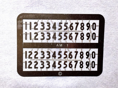AM Models : AM-3 Standard Locomotive Numerals in Etch Nickel Silver