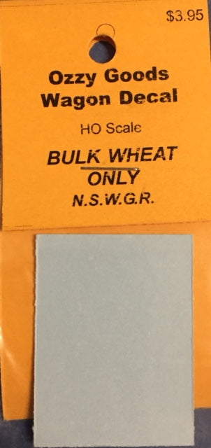 "Ozzy Decals: 4 wheel ""BULK WHEAT ONLY"" for NSWGR. wagons will do 10 wagons."