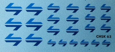 63 Ozzy Decals: L7 LOGO'S #CHSK63 NSWR / SRA L7 6 EA OF 4 SIZES,  LIGHT BLUE ON DARK BLUE   No photo shown.