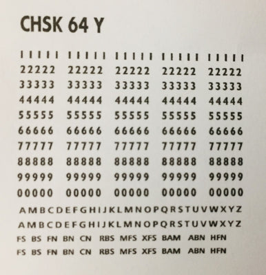 OZZY PASSENGER CAR DECAL : CHSK 64Y FS, BS. YELLOW Car Codes, Letters & Numbers see below for list of codes.