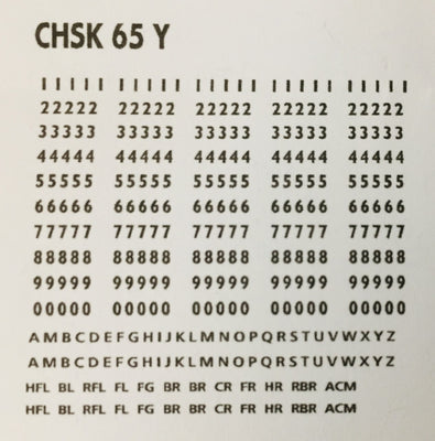 OZZY PASSENGER CAR DECAL : CHSK 65Y R & L YELLOW Car Codes, Letters & Numbers see below for list of codes.