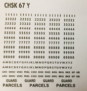 OZZY PASSENGER CAR DECAL : BRAKE VAN -  GUARD CAR DECAL : CHSK 67Y YELLOW Car Codes, Letters & Numbers see below for list of codes.