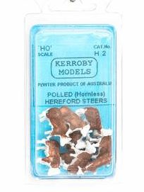 Kerroby Models: H02 HEREFORD STEERS  ALL STANDING  (10)painted