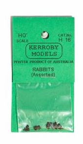 Kerroby Models: H16 RABBITS  ASSORTED POSES (5)painted