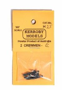 Kerroby Models: H25 CREWMEN E. DRIVER STANDING, FIREMAN SITTING. PEWTER PAINTED