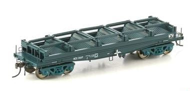 Auscision Models: FISHBELLY UNDERFRAME WAGON, NCX COIL STEEL WAGON, PTC BLUE WITHOUT TARP HOOPS - SINGLE PACK NSW-22