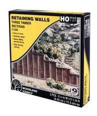Woodland Scenics: C1260 RETAINING WALL TIMBER - HO SCALE (3PC)