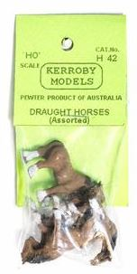 Kerroby Models: H42 DRAUGHT HORSES  ASSORTED POSES (4)painted