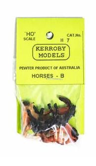 Kerroby Models: H07 HORSES  B. DARK BROWN  ASSORTED POSES (5)painted