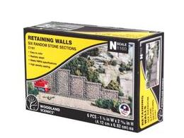 Woodland Scenics: RETAINING WALL RANDOM STONE - N SCALE (6PC)
