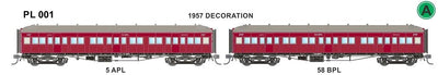 PL001 Victorian Railways: PL Series Passenger Carriages:  5APL / 58 BPL 1957