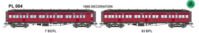 Victorian Railways: PL Series Passenger Carriages:  PL004 7 BCPL / 63 BPL 1966