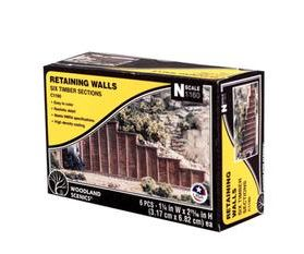 Woodland Scenics: RETAINING WALL TIMBER - N SCALE (6PC)