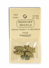 Kerroby Models: H14 PIGS  ASSORTED POSES (4)painted
