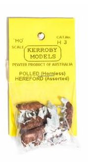 Kerroby Models: H03 HEREFORDS ASST.  ASSORTED POSES. (10)painted